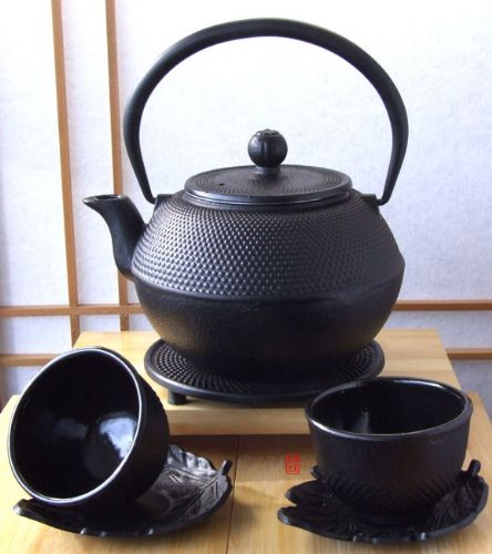 Cups, leaf coaster, Trivet & Tetsubin cast iron black hobnail tea pot kettle 1.2L Japanese style